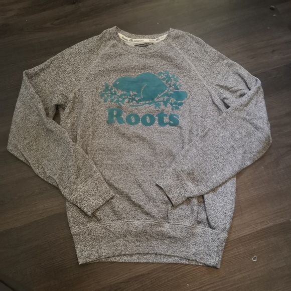 Roots grey and teal crew neck sweater sweatshirt